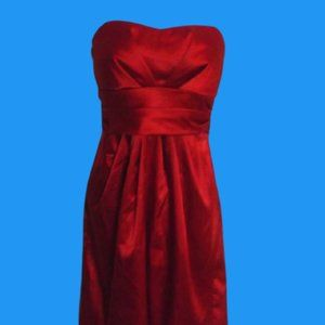 Red Satin Cocktail Dress Size 10 P